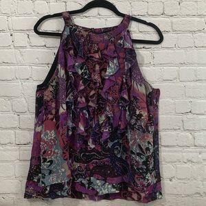 ECI New York sleeveless purple ruffle blouse sz 14